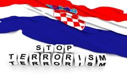 Croatian flag and text stop terrorism. Royalty Free Stock Photos