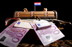 Croatian flag on top of crate full Royalty Free Stock Photos