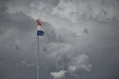 Croatian Flag Torn in a Storm Stock Photo