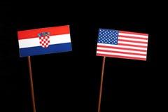 Croatian flag with USA flag  on black Stock Photo