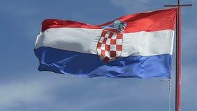 Croatian flag waving stock footage