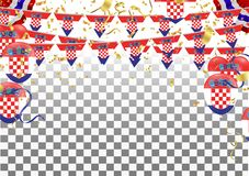 Croatian flags and Croatian balloons garland with confetti on white celebration background template with confetti and ribbons. vector illustration