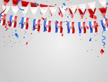 Croatian flags Celebration background with confetti and red and blue ribbons. Croatian flags Celebration background template with confetti and red and blue Stock Illustration