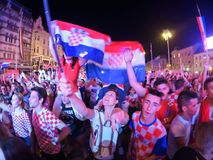 Croatian football fans are watching the Argentina - Croatia matc Royalty Free Stock Photography