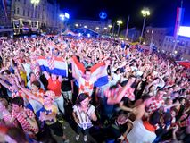 Croatian football fans are watching the Argentine - Croatia matc Stock Images