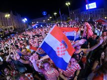 Croatian football fans are watching the Argentine - Croatia matc Royalty Free Stock Images