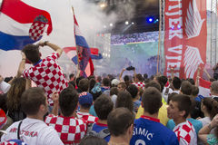 Croatian football fans Stock Photos