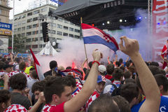 Croatian football fans Stock Images
