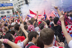 Croatian football fans Royalty Free Stock Photo