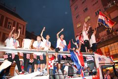 Croatian football Team arriving through the crowd with the bus Stock Image