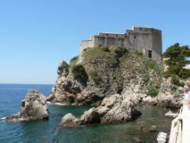 Croatian Fortress. A fort overlooking the Meditterranean Sea in Dubrovnik royalty free stock photography
