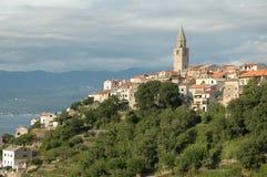 Croatian hilltown. Church tower and hilltown in Vrbnik, Croatia Stock Photography
