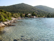 Croatian Hrvatian seaside landscape with crystal clear water stock images