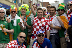 Croatian and  Irish fans Stock Photo