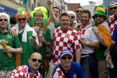 Croatian and  Irish fans Stock Photo