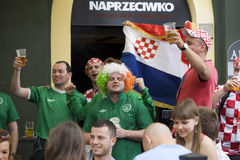 Croatian and  Irish fans Royalty Free Stock Photography