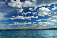 Croatian Island and Dramatic Clouds Stock Photography