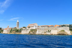 Croatian island of Rab, view on city and fortifications, Croatia Stock Photos
