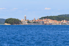 Croatian island of Rab, view on city and fortifications, Croatia Stock Images