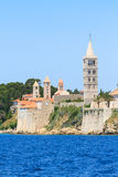 Croatian island of Rab, view on city and fortifications, Croatia Royalty Free Stock Photography