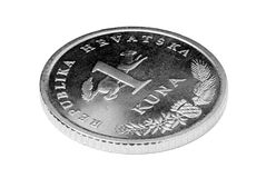 Croatian kuna. Detail Croatian kuna coin on white background royalty free stock images