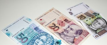 Croatian Kuna, national paper currency. Close up shot of bill stock image
