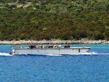 A Croatian landings craft with cattle Stock Photography