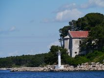The Croatian lighthouse on Babac Royalty Free Stock Images