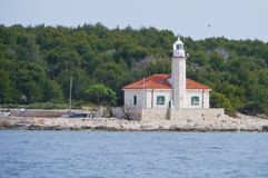 The Croatian lighthouse on cape Razanj Stock Images