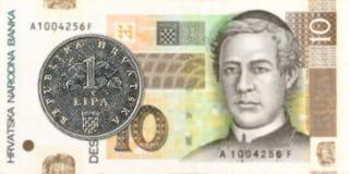 2 croatian lipa coin against 10 croatian kuna bank note stock images