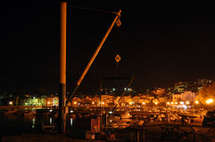 Croatian marina at night Royalty Free Stock Photography