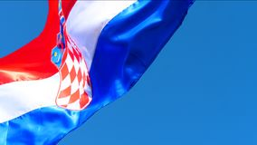 Croatian national flag on wind. Croatian national flag waving on wind. Red, white and blue colors stock video footage