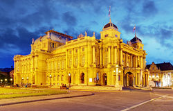 Croatian National Theate at night - Zagreb Royalty Free Stock Photography