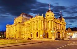 Croatian National Theate at night - Zagreb Stock Photography