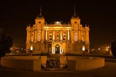 Croatian National Theater. At night Stock Photos
