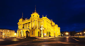Croatian National Theater. In Zagreb in the evening stock images