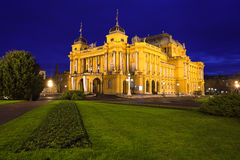 Croatian National Theater. In Zagreb in the evening stock image