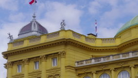 Croatian national theater building made in 1895, stock video footage