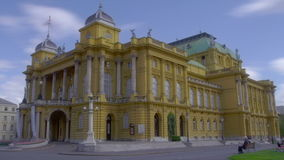 Croatian national theater building made in 1895, Zagreb stock video