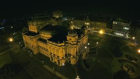 Croatian national theater building in Zagreb stock footage