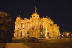 Croatian National Theater at night, Zagreb, Croatia Royalty Free Stock Image