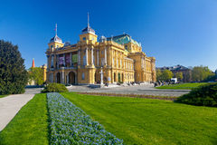 Croatian National Theater on a spring sunny day Stock Image