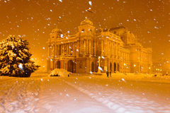 Croatian National theater in winter Royalty Free Stock Photos
