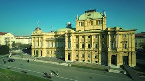 Croatian national theater in Zagreb - aerial stock video footage