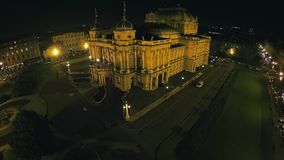 Croatian national theater in Zagreb - aerial shot stock footage