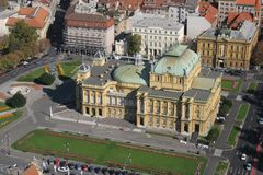 The Croatian National Theatre. Croatian National Theatre - Zagreb, Croatia. Aerial view Royalty Free Stock Photography