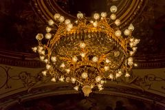 Croatian National Theatre ceiling. ZAGREB, CROATIA - October 14, 2014: Chandelier on the painted ceiling of the Croatian National Theatre a neo-baroque building Royalty Free Stock Image