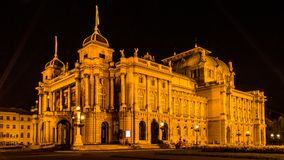 Croatian National theatre. Photo of Croatian national theatre in Zagreb taken at night. Opera and ballet house.  A neo-baroque masterpiece established in 1895 Royalty Free Stock Photos