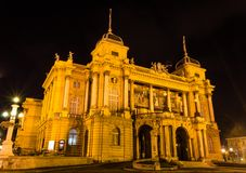 Croatian National theatre. Photo of Croatian national theatre in Zagreb taken at night. Opera and ballet house.  A neo-baroque masterpiece established in 1895 Stock Photography