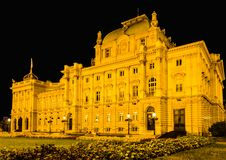 Croatian National theatre. Photo of Croatian national theatre in Zagreb taken at night. Opera and ballet house.  A neo-baroque masterpiece established in 1895 Stock Image